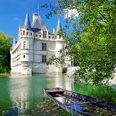 pictorial scene with castle and boat- Loire valley (from my castle' collection)
