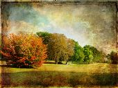 autumn landscape - artwork in old painting style