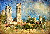 great italian landmarks - artistic vintage series - San Gimignano poster
