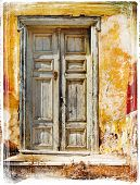 stock photo of hydra  - old traditional greek doors  - JPG