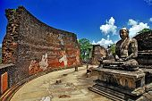 stock photo of polonnaruwa  - Buddha in Polonnaruwa temple  - JPG