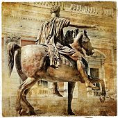 great italian landmarks series - statue of Marcus aurelius, retro styled picture