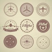 stock photo of yoke  - Set of vintage aviation labels  - JPG