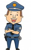 Illustration of a Man Wearing a Police Uniform Smiling Happily