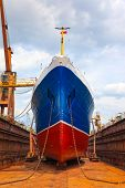 stock photo of overhauling  - Ship in dry dock during the overhaul - JPG