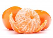 foto of mandarin orange  - Peeled tangerine or mandarin fruit isolated on white background - JPG