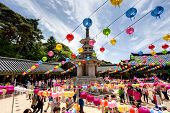 GYEONGIU kOREA MAY 17: People are visiting the Bulguksa Temple where hanging lanterns for celebratin