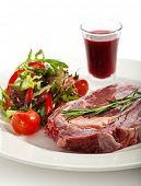 stock photo of rib eye steak  - Rib Eye Steak with Thyme - JPG