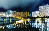 picture of hong kong bridge  - Residential district in Hong Kong at night - JPG