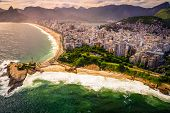 picture of ipanema  - Aerial view of buildings on the beach front Ipanema Beach Rio De Janeiro Brazil - JPG