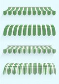 stock photo of awning  - detailed illustration of set of striped awnings - JPG