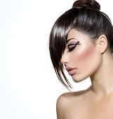 Fashion Glamour Beauty Girl With Stylish Hairstyle and Makeup. Fringe. Model Girl Portrait. Trendy H