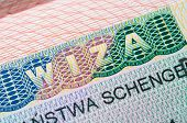 stock photo of olympiade  - Touristic multi Schengen Visa in passport of citizen - JPG