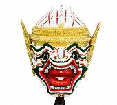 picture of hanuman  - Hanuman mask in Khon Thai classical style of Ramayana Story - JPG