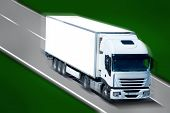 image of delivery-truck  - Big White Truck Moving on the Highway - JPG