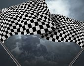 picture of sidecar  - Two large Checkered Flag made in 3d software - JPG
