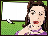 stock photo of 1950s style  - Vector illustration of a Pop Art Style Comic book Stereotypical Housewife who looks very confused - JPG