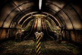 pic of tyne  - Two wooden escalators in the pedestrian Tyne tunnel - JPG