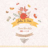 Stylish Save the Date card made of cute birds, butterflies and flowers in vector. Vintage summer bac