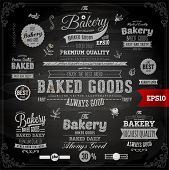 stock photo of ribbon decoration  - Set of vintage chalkboard bakery logo badges and labels for retro design - JPG