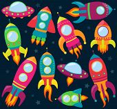 stock photo of moon stars  - Vector Collection of Cartoon Rocketships and Stars - JPG