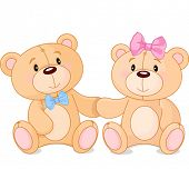 picture of teddy  - Two cute Teddy bears in love - JPG