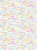 pic of interpreter  - The word Hello written with the different world languages over white background - JPG