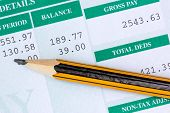 stock photo of payroll  - Pencil with the statement of payroll details - JPG
