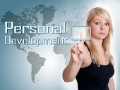 image of self assessment  - Young woman press digital Personal Development button on interface in front of her - JPG