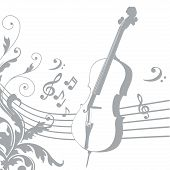 image of pentagram  - grey silhouette of a violin with a pentagram and music - JPG