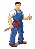 picture of plunger  - Vector illustration of a plumber with a plunger in his hand - JPG