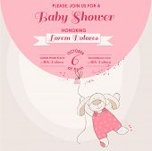 Baby Shower or Arrival Card - Baby Bunny with Balloon - in vector