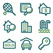 Real estate web icons, green line set