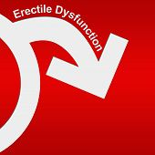 picture of erectile dysfunction  - Conceptual red and white image with Erectile dysfunction concept - JPG