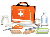 foto of first aid  - First Aid Kit. Medical set. File: AI8 eps - JPG