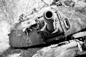 stock photo of north sudan  - Wrecked northern Sudanese tank in South Sudan - JPG