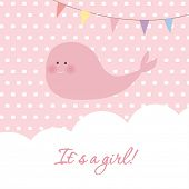 Baby girl shower card with cute whale and flags