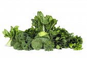stock photo of leafy  - Variety of leafy green vegetables isolated on white background - JPG