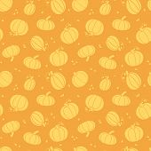 stock photo of thanksgiving  - vector Thanksgiving golden pumpkins seamless pattern background with hand drawn elements - JPG