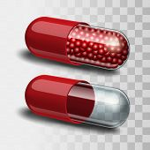 image of paracetamol  - Two Red and transparent pills  - JPG