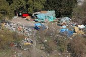 picture of gypsy  - Illegal camp settlement of ethnic Gypsies Romani - JPG