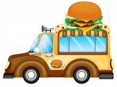 foto of veggie burger  - Illustration of a vehicle selling burgers on a white background - JPG