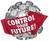 stock photo of take responsibility  - Control Your Future words on a red arrow around a sphere of clocks ticking toward tomorrow - JPG