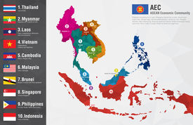 image of flags world  - AEC Asean Economic Community world map with a pixel diamond texture and flags - JPG