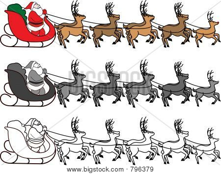Santa Claus in sleigh with reindeer pulling the sleigh. Color or black