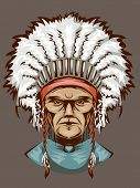 picture of headdress  - Illustration of an Indian Man Wearing an Elaborate Headdress - JPG