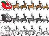 stock photo of santa-claus  - Santa Claus in sleigh with reindeer pulling the sleigh - JPG