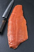 stock photo of blubber  - salmon fillet  - JPG