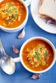 pic of butternut  - Chunky butternut mulligatawny soup in bowls on table - JPG