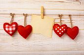 picture of wallpaper  - Valentines Vintage Handmade Hearts over Wooden Background - JPG